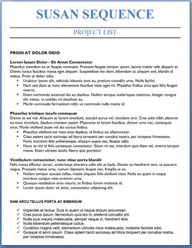 Project List - Entry Level