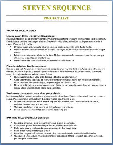 Project List - Mid-Career