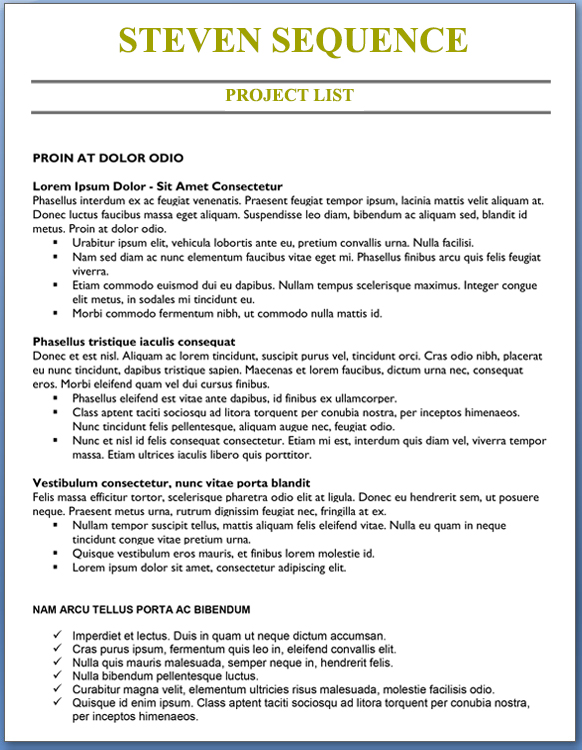 Project List Mid Career Professional Level