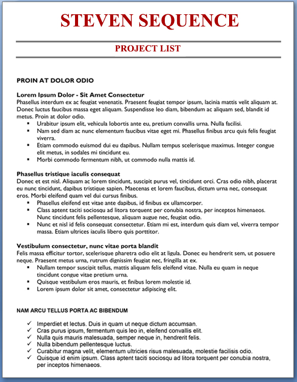 Project Lists