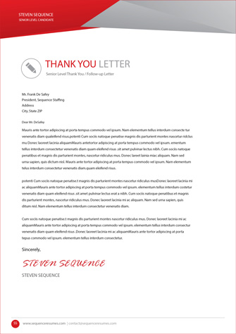 Follow Up Thank You Letter Senior Executive Level